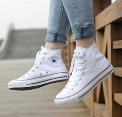 All Star Branco Lona Cano Médio